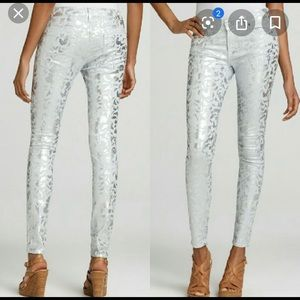 7 For All Mankind foil print coated skinny jeans